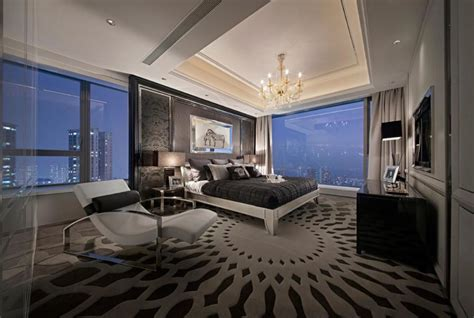 Luxury Modern Bedroom Designs modern master bedroom with large glass wall using luxury