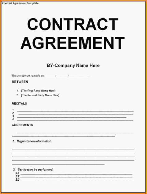 11 contract agreement template letter template word