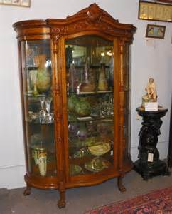 Curio Cabinet Rounded Glass Bargain S Antiques 187 Archive Antique Large Oak