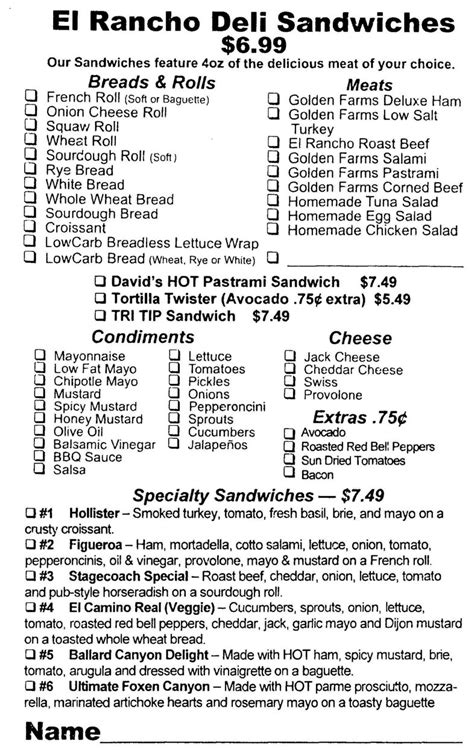 sandwich order form template deli sandwich order form template pictures to pin on