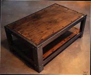 table basse vieux bois et metal ezooq