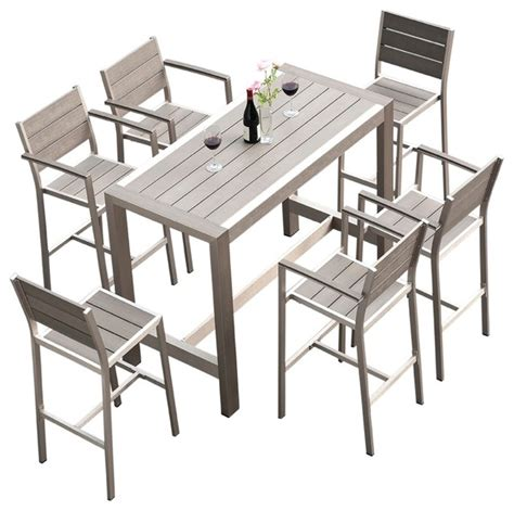 contemporary patio dining set 7 piece outdoor dining and bar table set contemporary