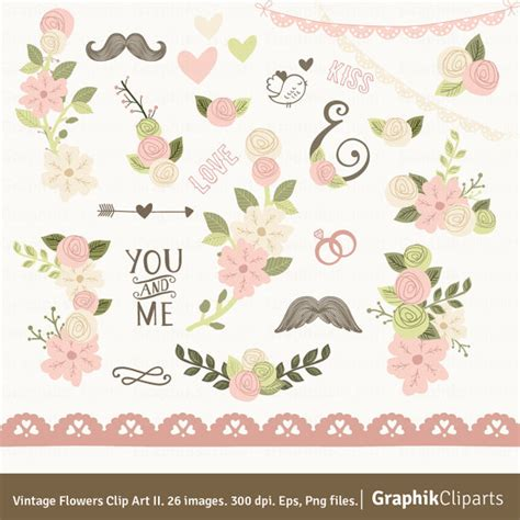 Wedding Invitations Graphics by Vintage Flowers Clip Ii Pink Floral Clipart Floral