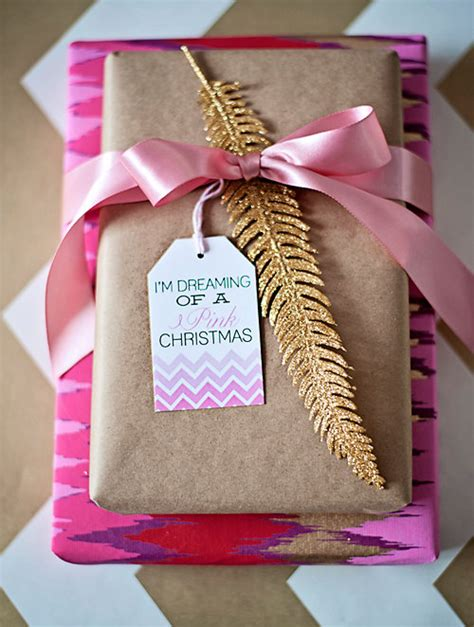 holiday gift tags chevron pink and gold printable
