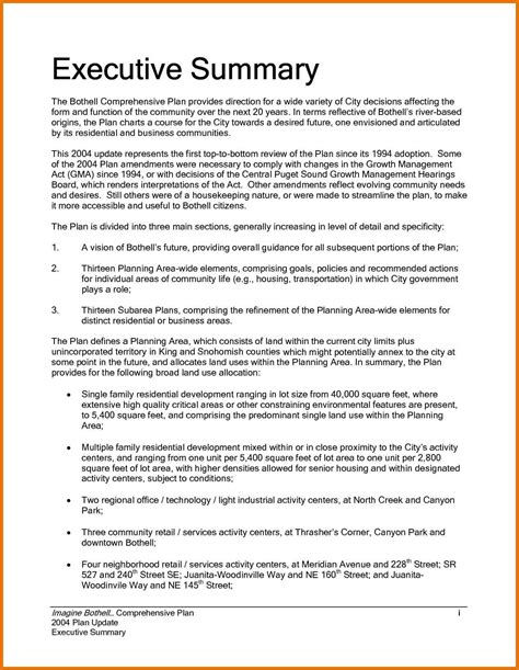 Executive Summary Template For 8 executive summary sle a cover letters