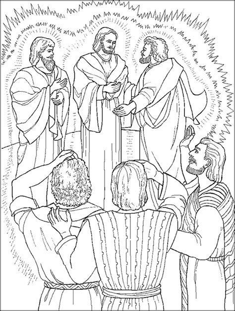 jesus is transfigured coloring page