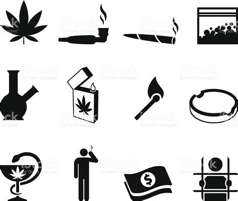 stock photos royalty free images and vectors marijuana black and white royalty free vector icon set