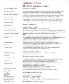 project manager resume template word sle it project manager resume 9 exles in word pdf