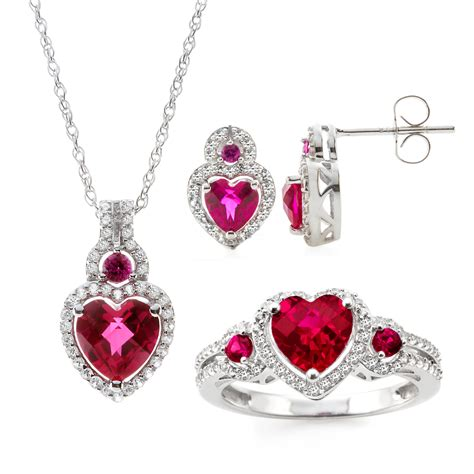 3 sterling silver lab created ruby earring pendant