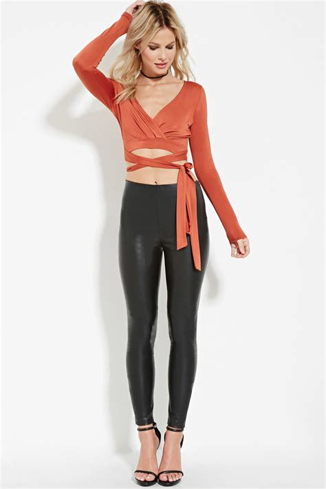 forever 21 draped wrap front top in brown forever 21 tie front wrap crop top in brown lyst