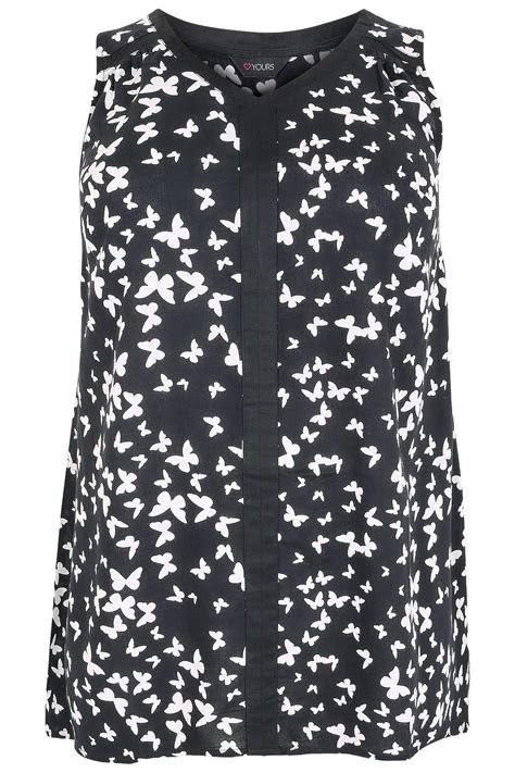 black white butterfly print sleeveless top with contrast trim plus size 16 to 36