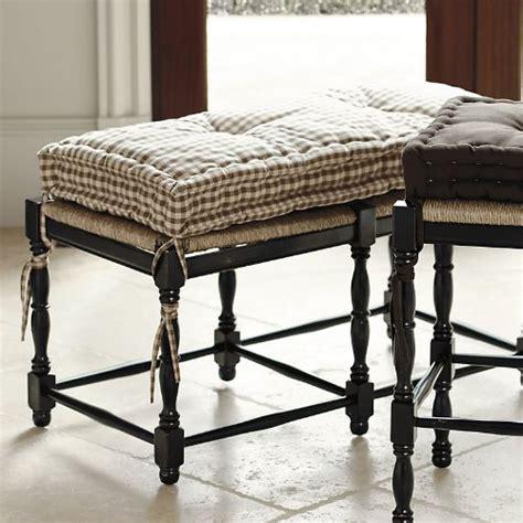 ballard bench farmhouse 2 seat bench cushion natural linen ballard