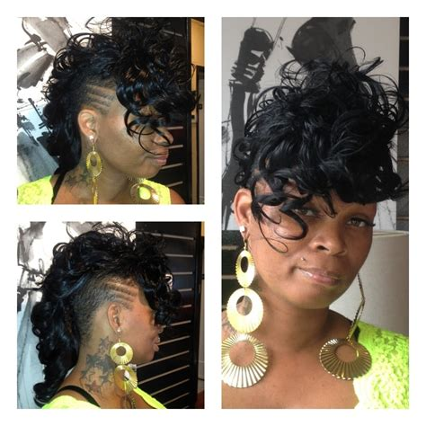 sewing hair weave for a mohawk 2012 full sew in mohawk perm cut and color hair by kevia