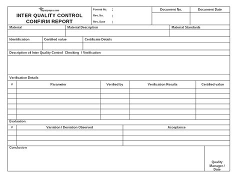 Inter Quality Control Checking Process Qa Qc Report Template