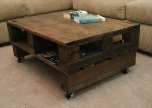 Diy Pallet Coffee Table Wheels Vintage Pallet Coffee Table With Casters Pallet
