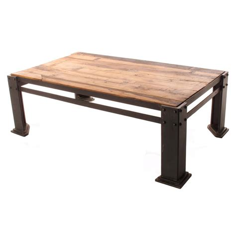 rigger s reclaimed teak wood chunky leg coffee table