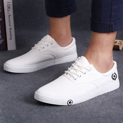 Sepatu Casual Adidas Fashion Black White new s flat canvas shoes breathable white black casual shoes fashion mens shoes slip on