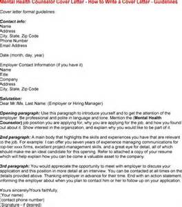 mental health counselor cover letter mental health counselor cover letter exles