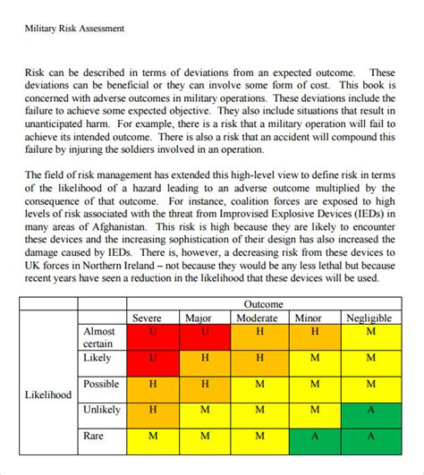 11 Risk Assessment Templates Pdf Word Pages Sle Templates Army Risk Assessment Template