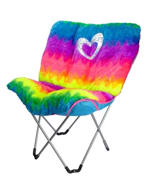 Justice Butterfly faux fur rainbow butterfly chair from justice product