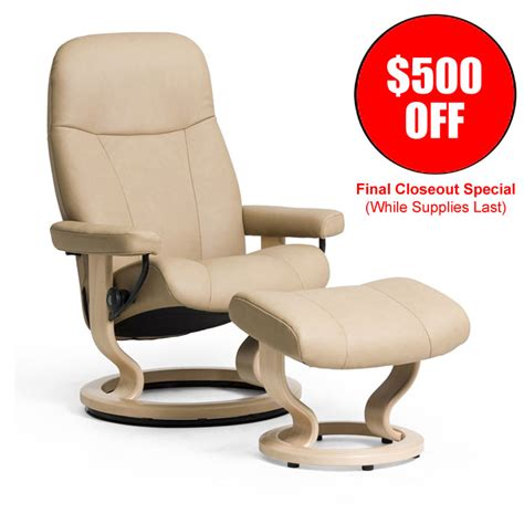 Stressless Furniture Sale by Stressless Consul Small Recliner And Ottoman Classic Base