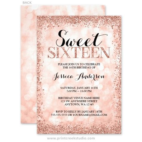 Pink Chandelier For Nursery Rose Gold Faux Glitter Lights Sweet 16 Invitations Print