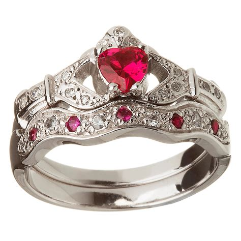 white gold ruby set heart claddagh ring wedding ring set