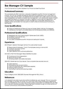 Bar Manager Resume Exles by Bar Manager Cv Sle Myperfectcv