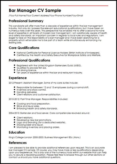 Sonographer Resume Sample by Bar Manager Cv Sample Myperfectcv