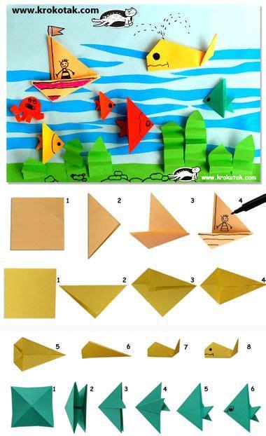 bootje in papier vouwen vouwen bootje en vis in de oceaan collage etkinlik