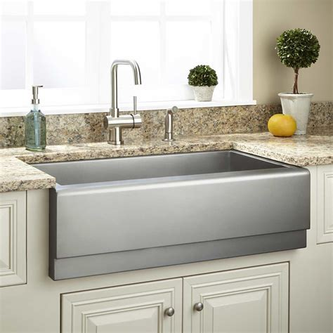 Stainless Farmhouse Kitchen Sinks 33 Quot Executive Zero Radius Stainless Steel Farmhouse Sink Beveled Apron Kitchen