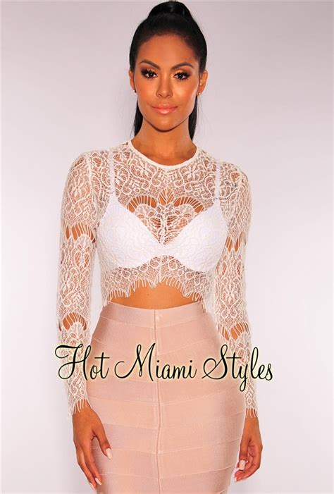 Sheer Lace Sleeve Top white sheer lace sleeves crop top