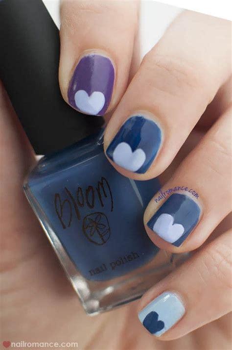 easy nail art heart blue valentine easy heart nail art 183 how to paint a heart