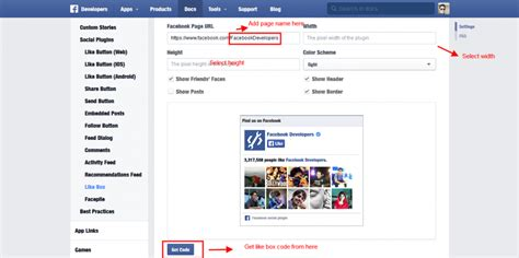 themes like facebook how to display facebook like box in webisite