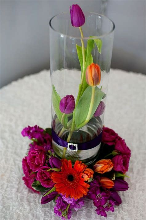 Vase Arrangements Ideas by This Is A 14 Cylinder Glass Vase With Orange Tulips