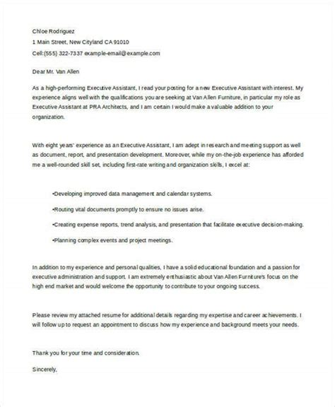 sample job application letter executives