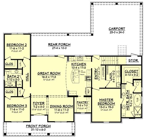 floor plan of house 3 bedrm 1900 sq ft acadian house plan 142 1163