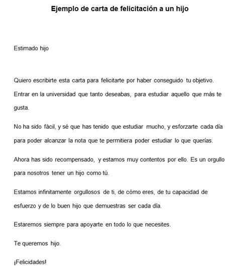 carta felicitacion ejemplo de carta de felicitaci 243 n para un hijo modelo de