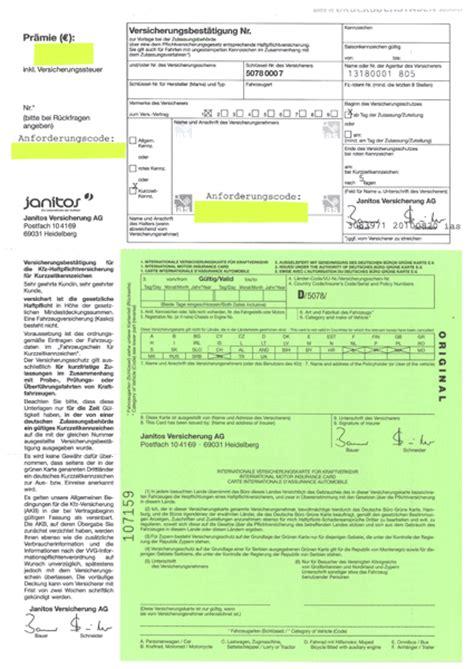 grune karte versicherungen und doppelkarten f 252 r ihr auto
