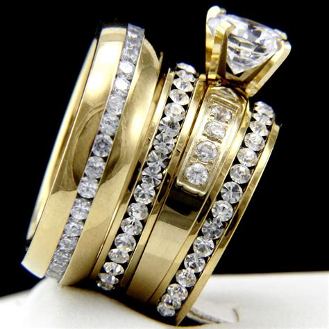 trio wedding sets cheap – Simple Black Diamond Trio Wedding Sets   wedding ring sets for him and her cheap and her trio