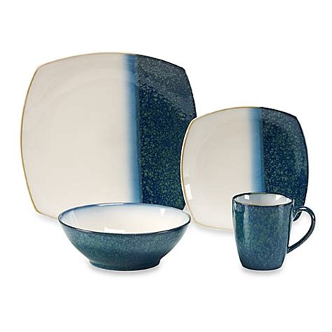 bed bath and beyond dish sets buy sango metallics blue 16 piece dinnerware set from bed