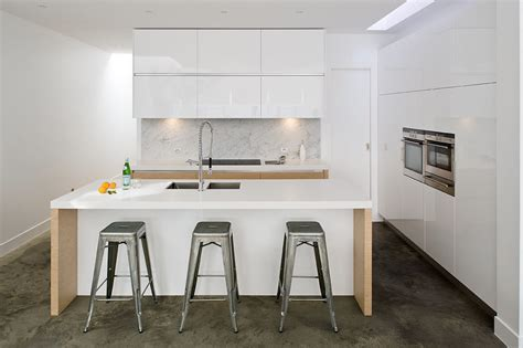 High Gloss Black Kitchen Cabinets white and oak handleless kitchen true handleless