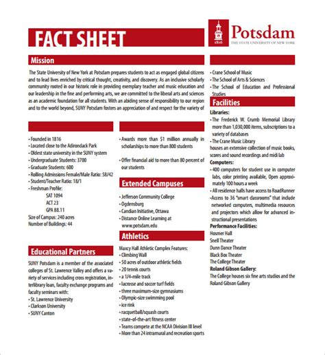fact sheet template 24 free word pdf documents