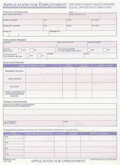 employment application template free search results for standard application printable