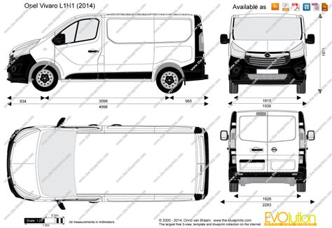 Vauxhall Vivaro Dimensions The Blueprints Vector Drawing Opel Vivaro L1h1