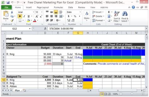 Free Channel Marketing Plan Template For Excel Marketing Plan Excel Template Free
