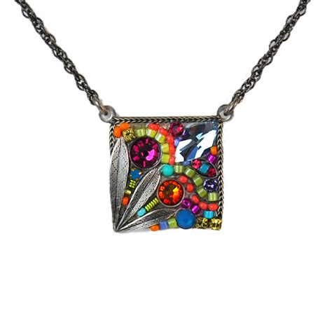 multi color signature collection intricate mosaic pendant