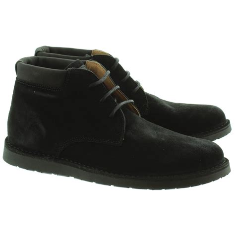 Black Hush Puppies hush puppies mens barricane desert boots in black in black