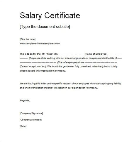 Salary Certificate Letter Pdf Salary Certificate Template 25 Free Word Excel Pdf Psd Documents Download Places To