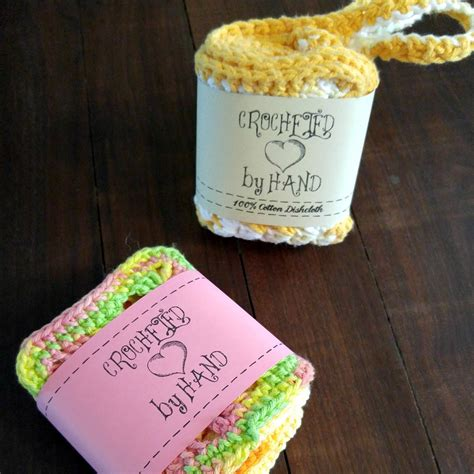 Handmade Labels For Crochet - printable pdf crochet dishcloth label wrappers crocheted by